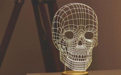 Flat Skull LED Lamp Looks 3D