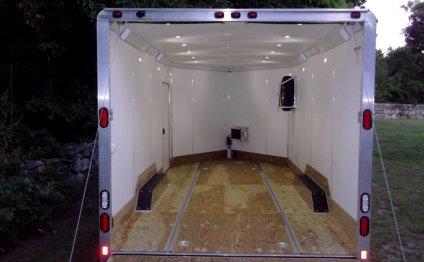 The trailer has a 12-volt LED