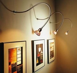 show lighting effects showcasing item on a wall