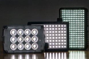 Small Light-emitting Diode panels for usage with DSLR digital cameras provide a lot of energy in a tiny package