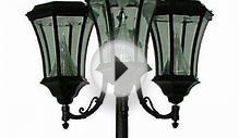 Gama Sonic Victorian 3 Head Solar Black Outdoor Lamp Post